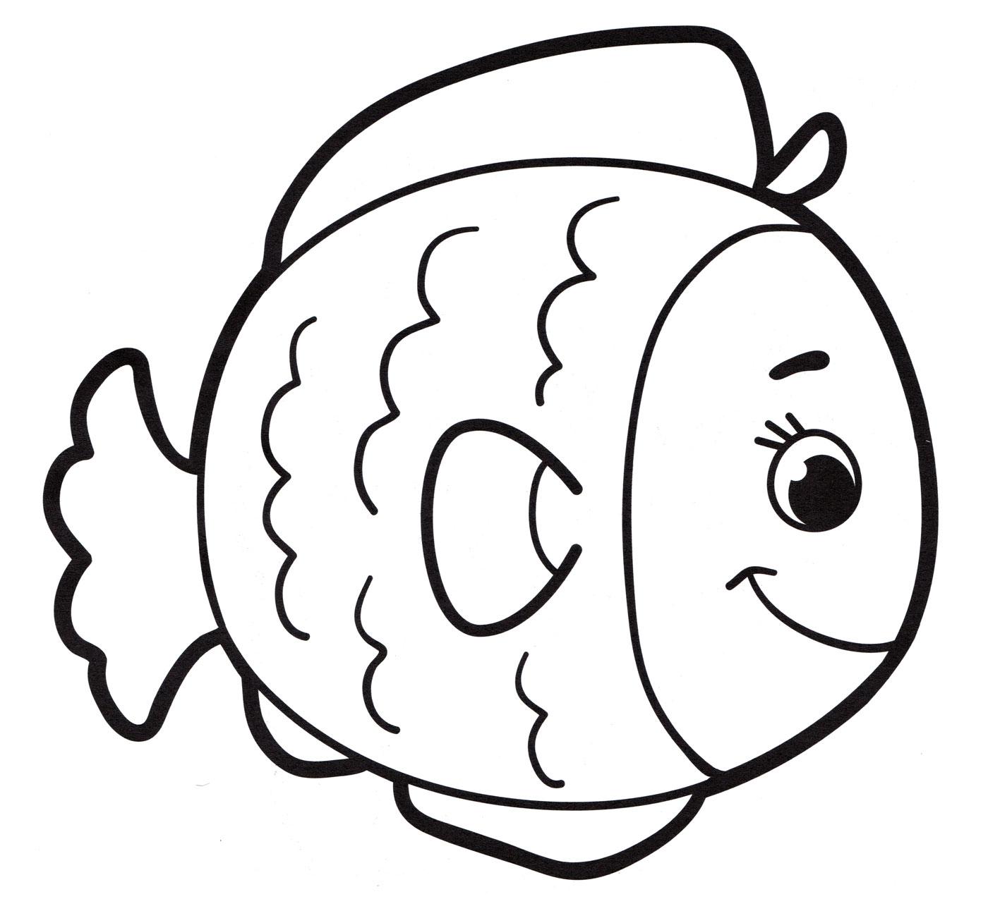 Раскраска Рыбка улыбается - распечатать бесплатно