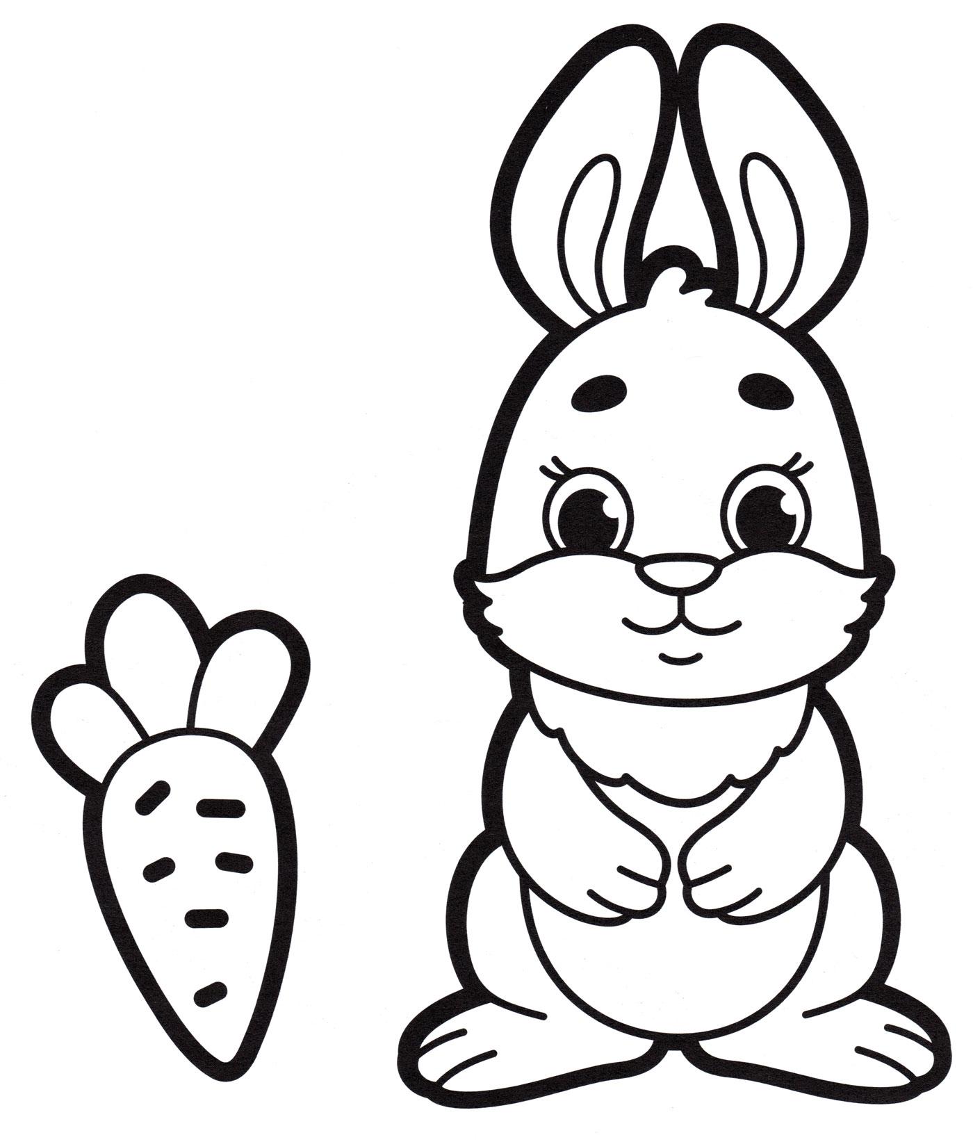 Раскраска Кролик и морковка - распечатать бесплатно