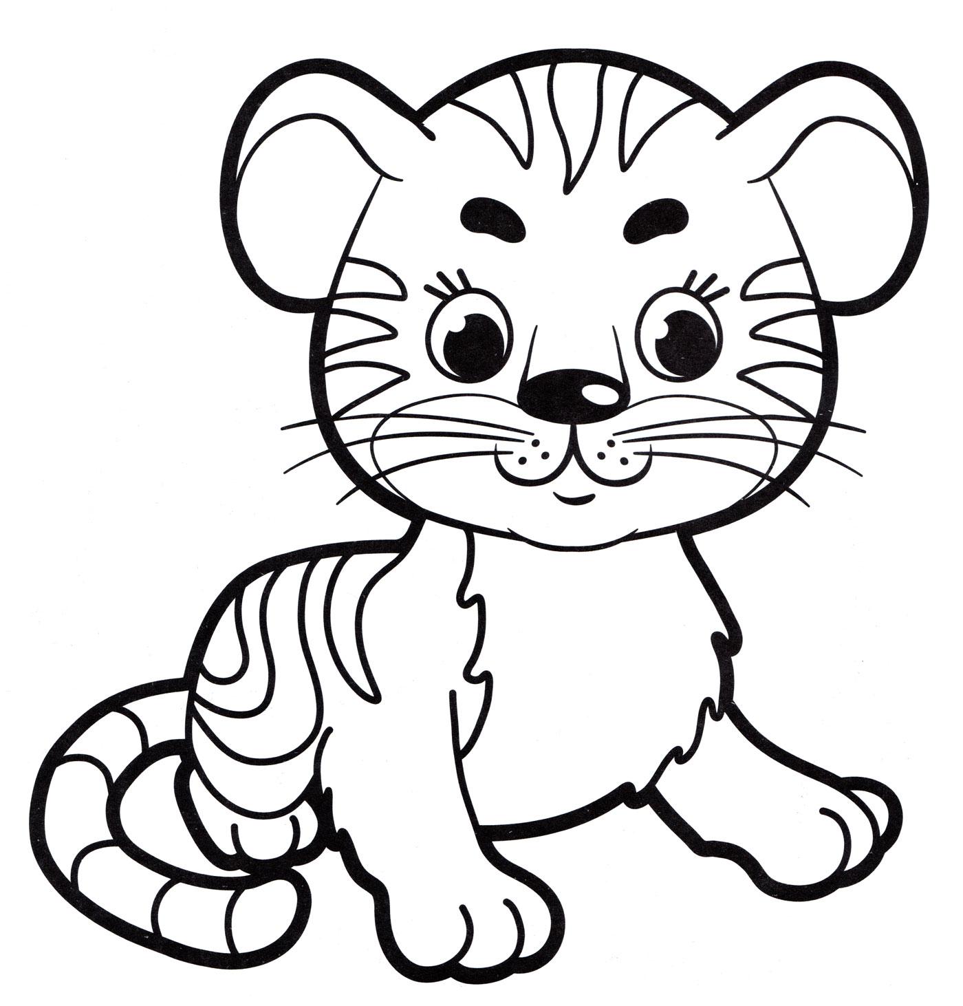 Раскраска Маленький тигр - распечатать бесплатно