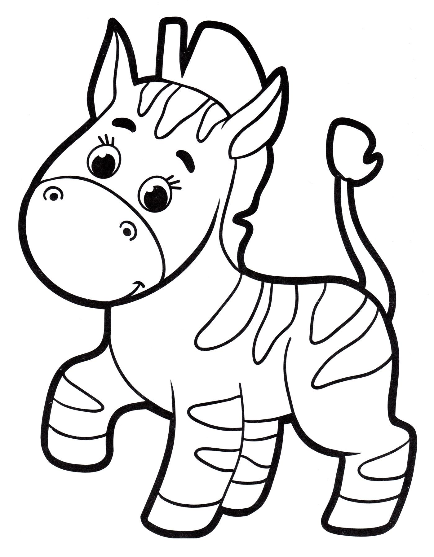 Раскраска Маленькая зебра - распечатать бесплатно