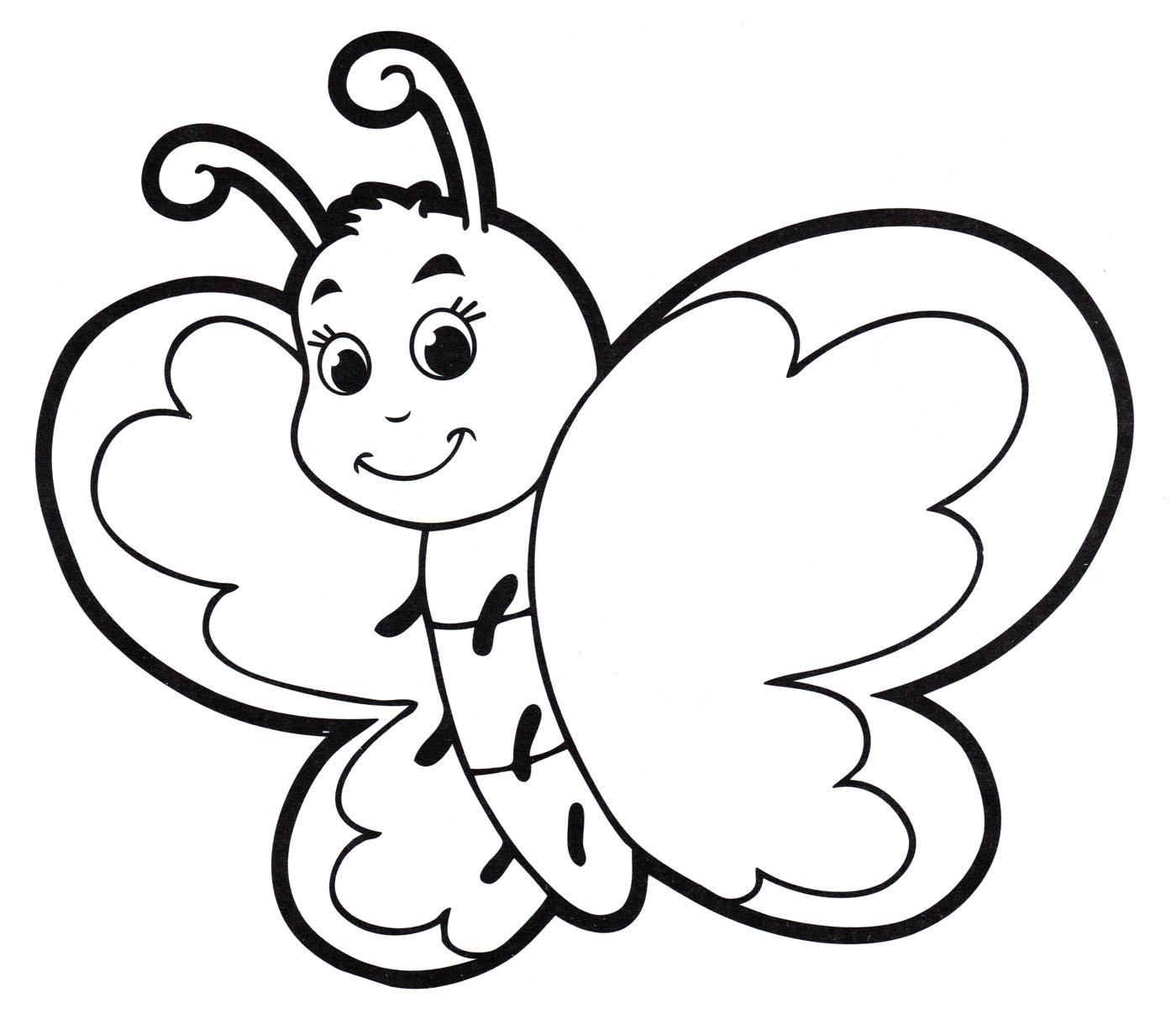 Раскраска Милая бабочка - распечатать бесплатно
