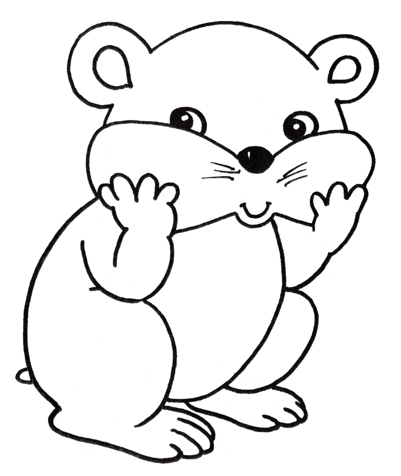 Раскраска хомячок для детей