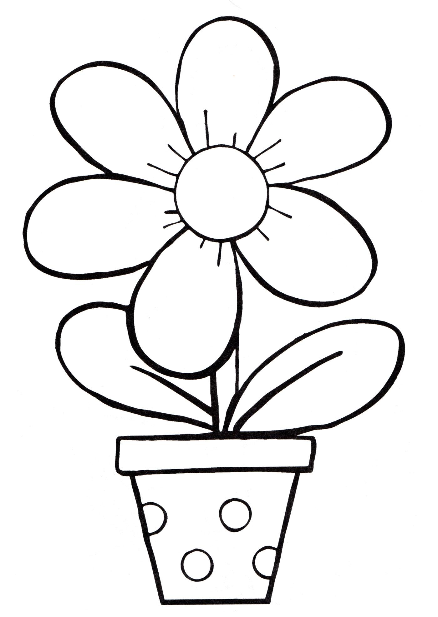 Раскраска Красивый цветок в горшке - распечатать бесплатно