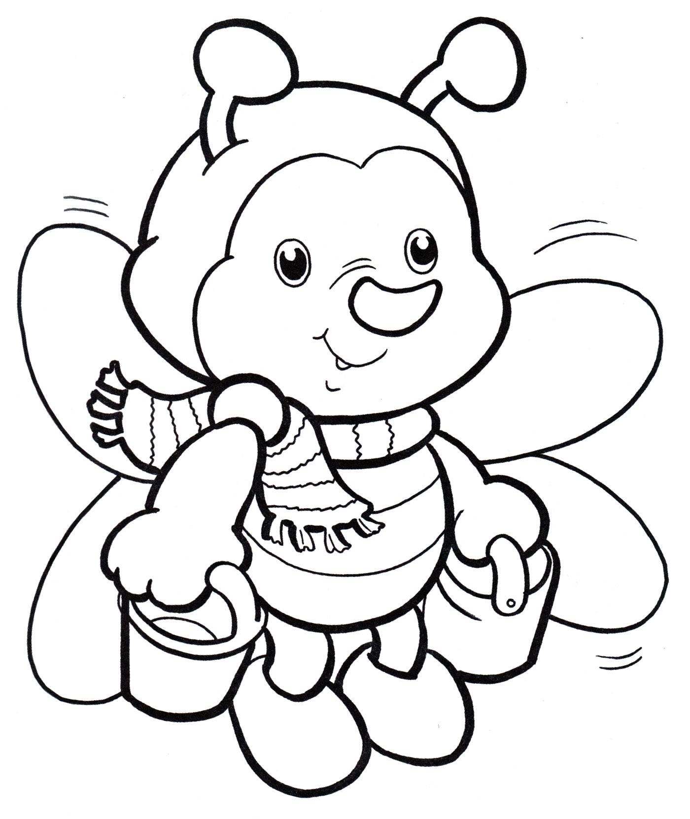 Раскраска Пчелка с медом - распечатать бесплатно
