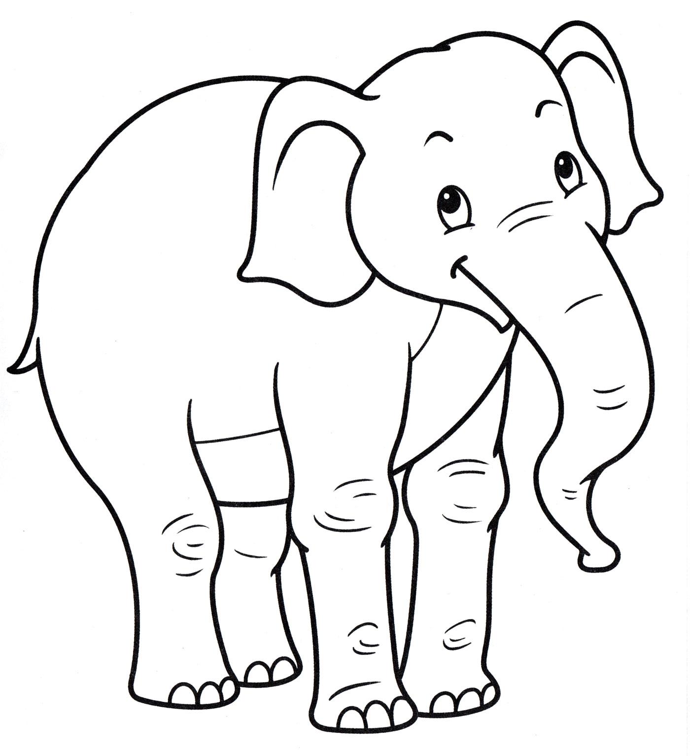 Раскраска Радостный слон - распечатать бесплатно