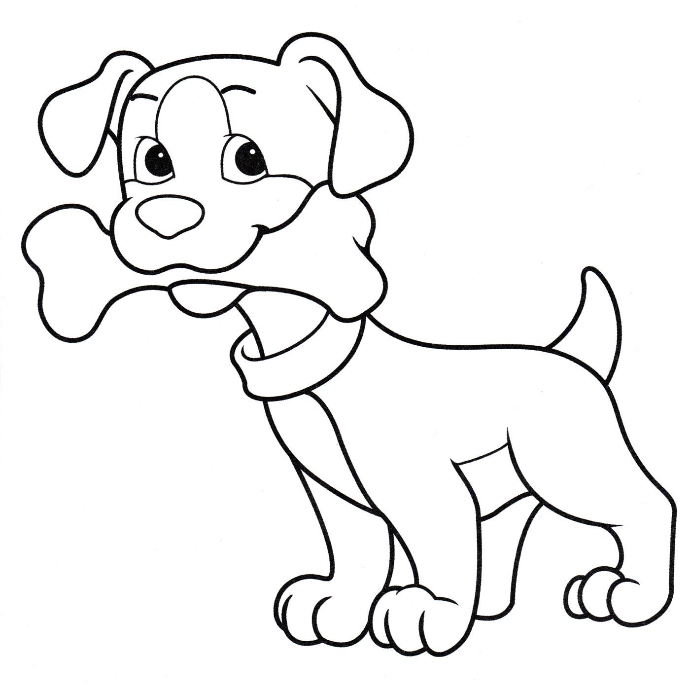 Раскраска Собачка держит кость - распечатать бесплатно