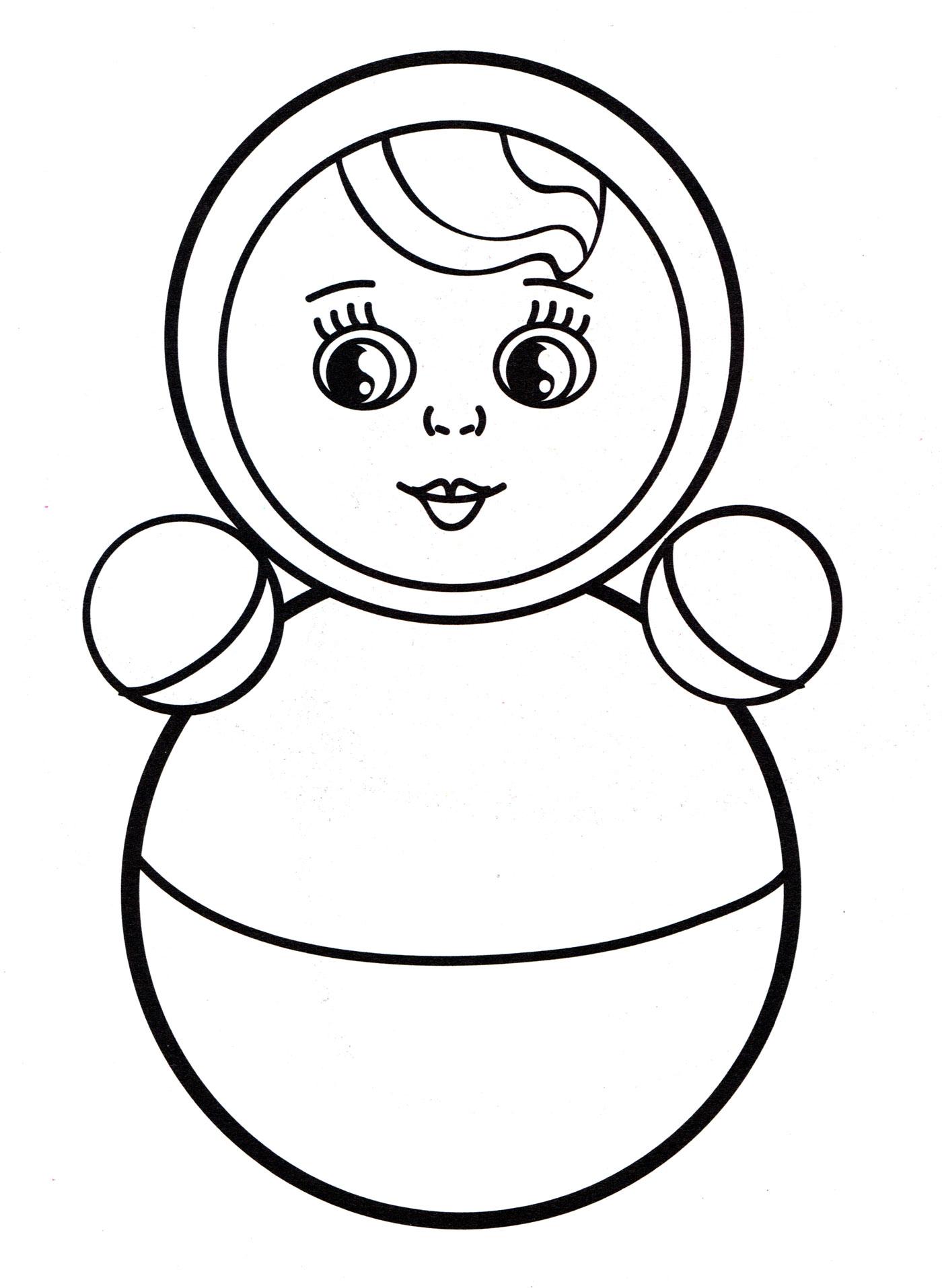 Раскраска Кукла неваляшка - распечатать бесплатно
