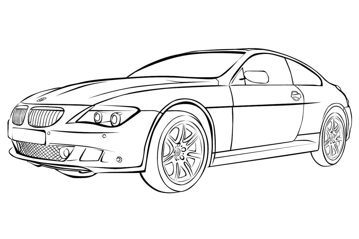 Раскраска Автомобиль BMW - распечатать бесплатно