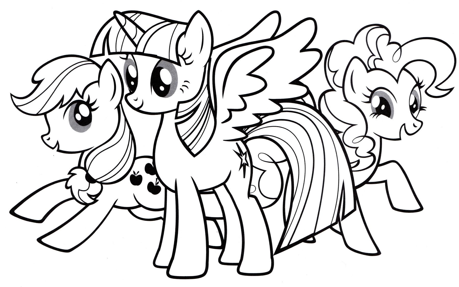 Раскраска Друзья пони - распечатать бесплатно
