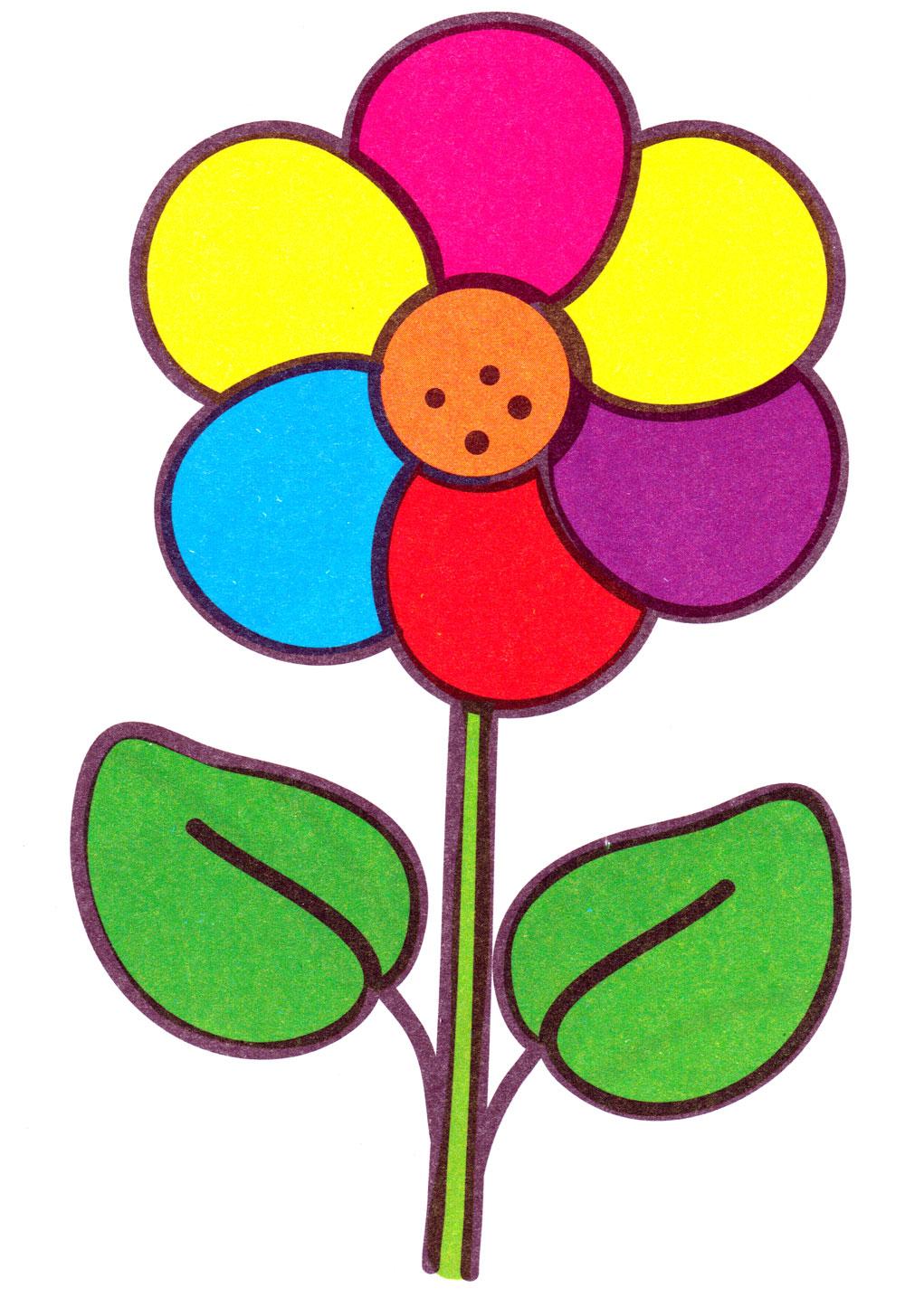 Раскраска Цветочек с листочками - распечатать бесплатно