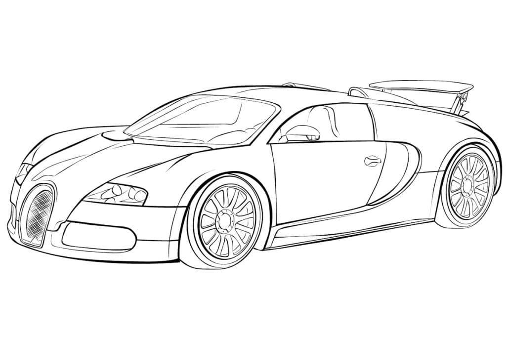 Раскраска Машина Bugatti Veyron - распечатать бесплатно