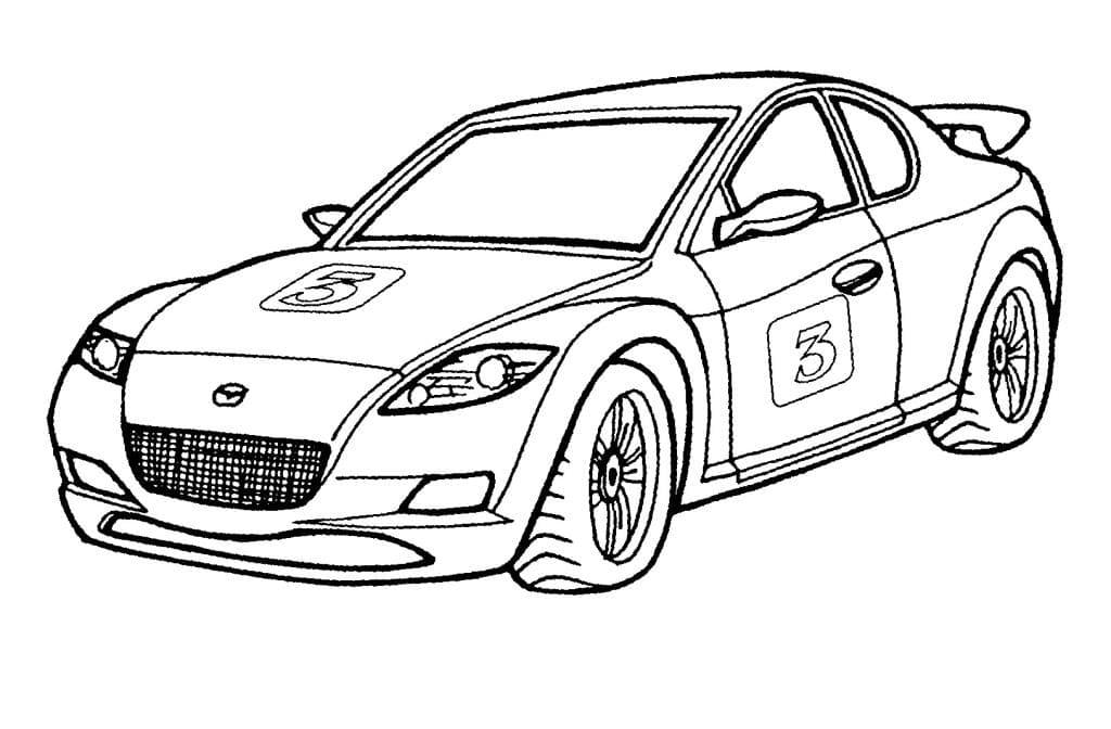 Раскраска Спортивная машина Мазда - распечатать бесплатно