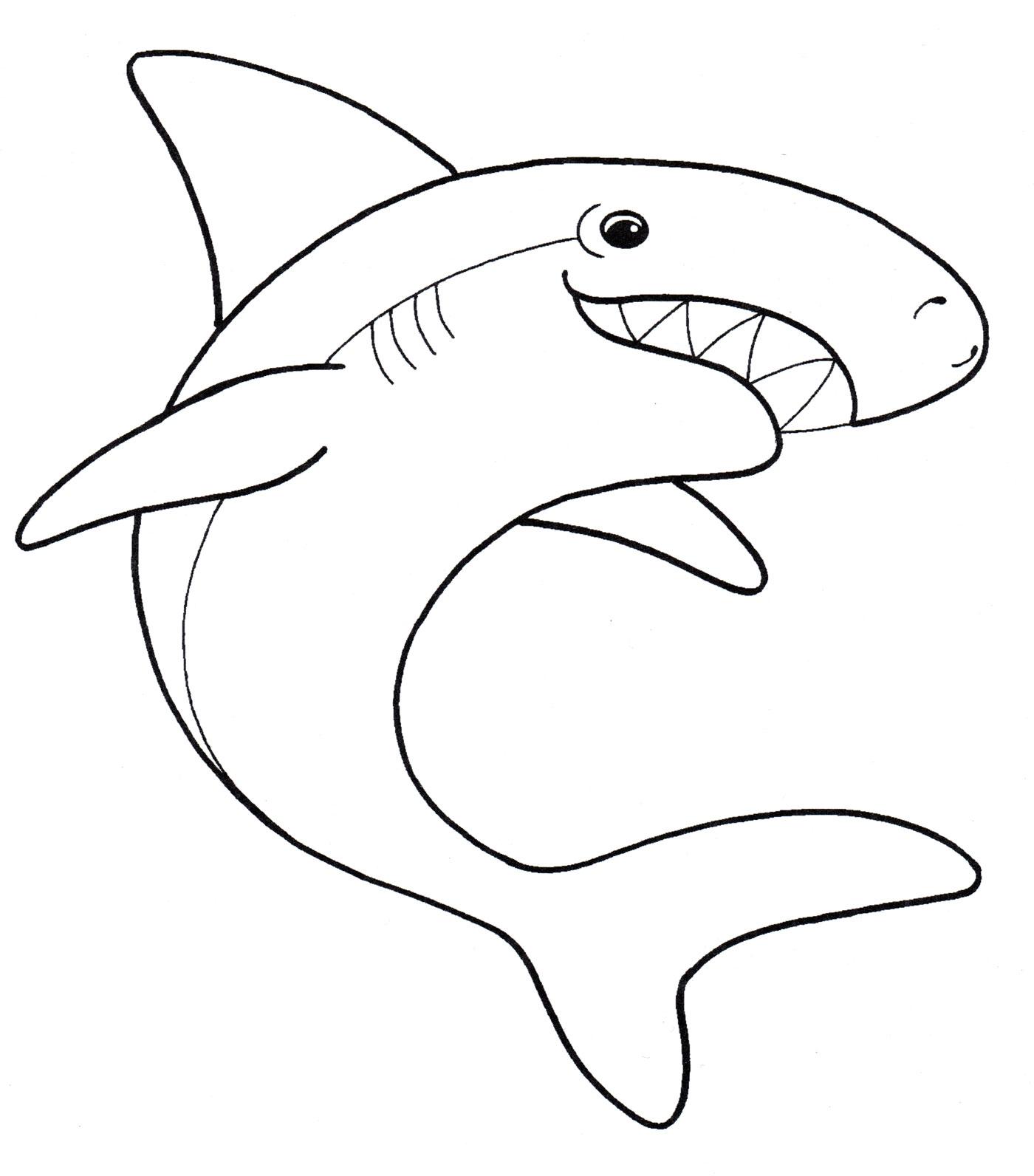 Раскраска Зубастая акула - распечатать бесплатно
