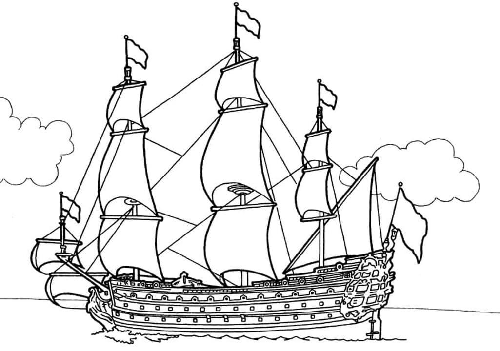 раскраска большой парусный корабль раскраски корабли