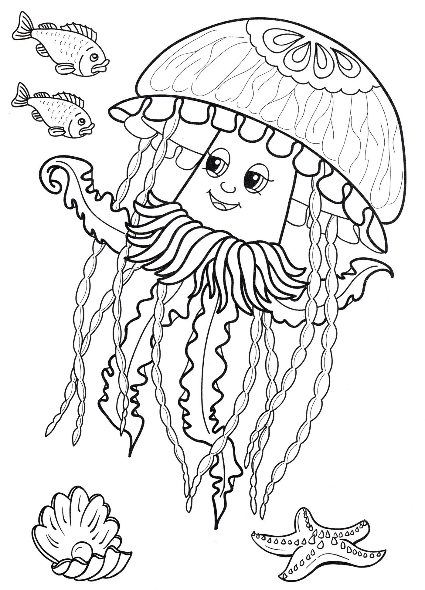 Раскраска Медуза плавает в море - распечатать бесплатно