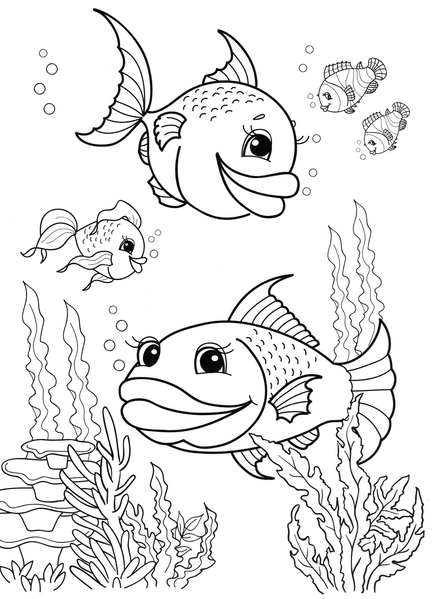 Раскраска Рыбы плавают в море - распечатать бесплатно