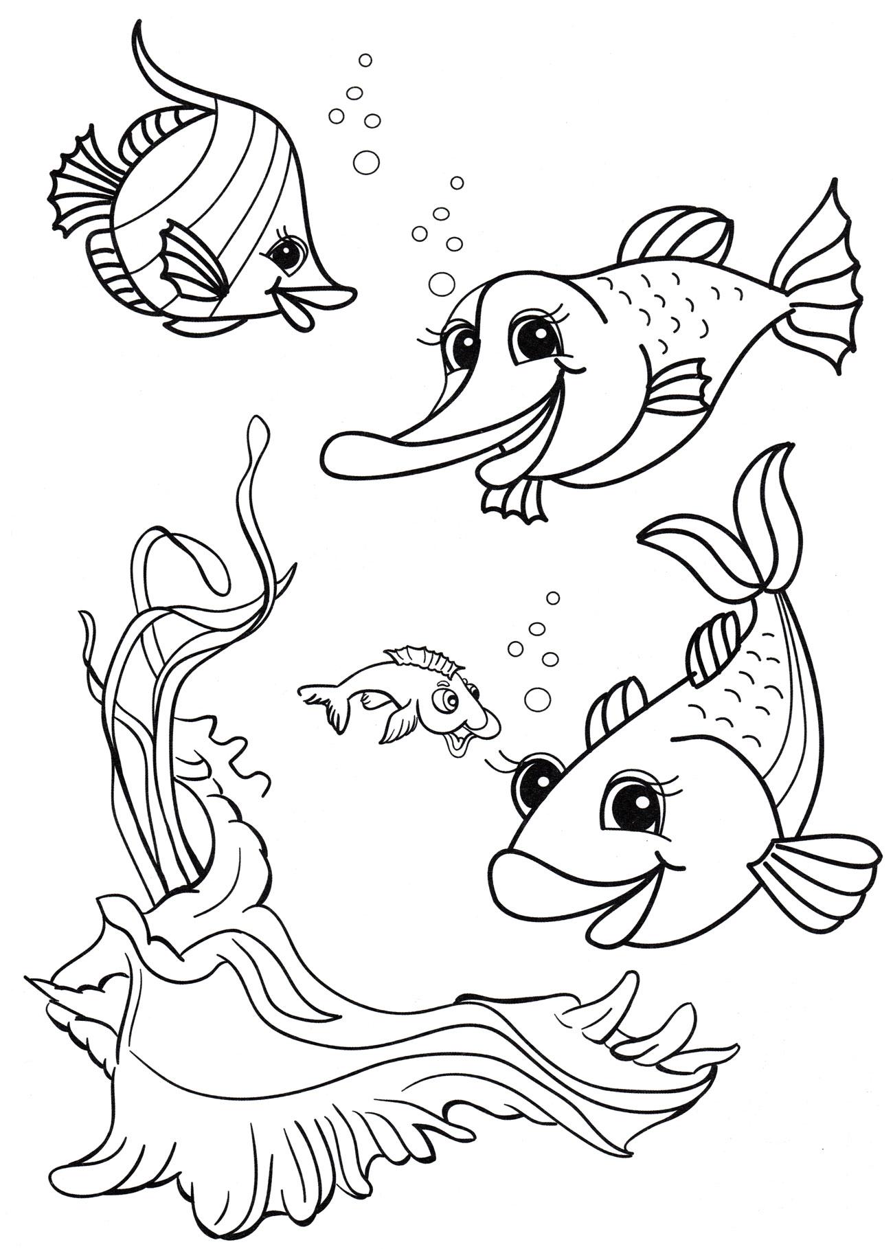 Раскраска Веселые рыбки - распечатать бесплатно