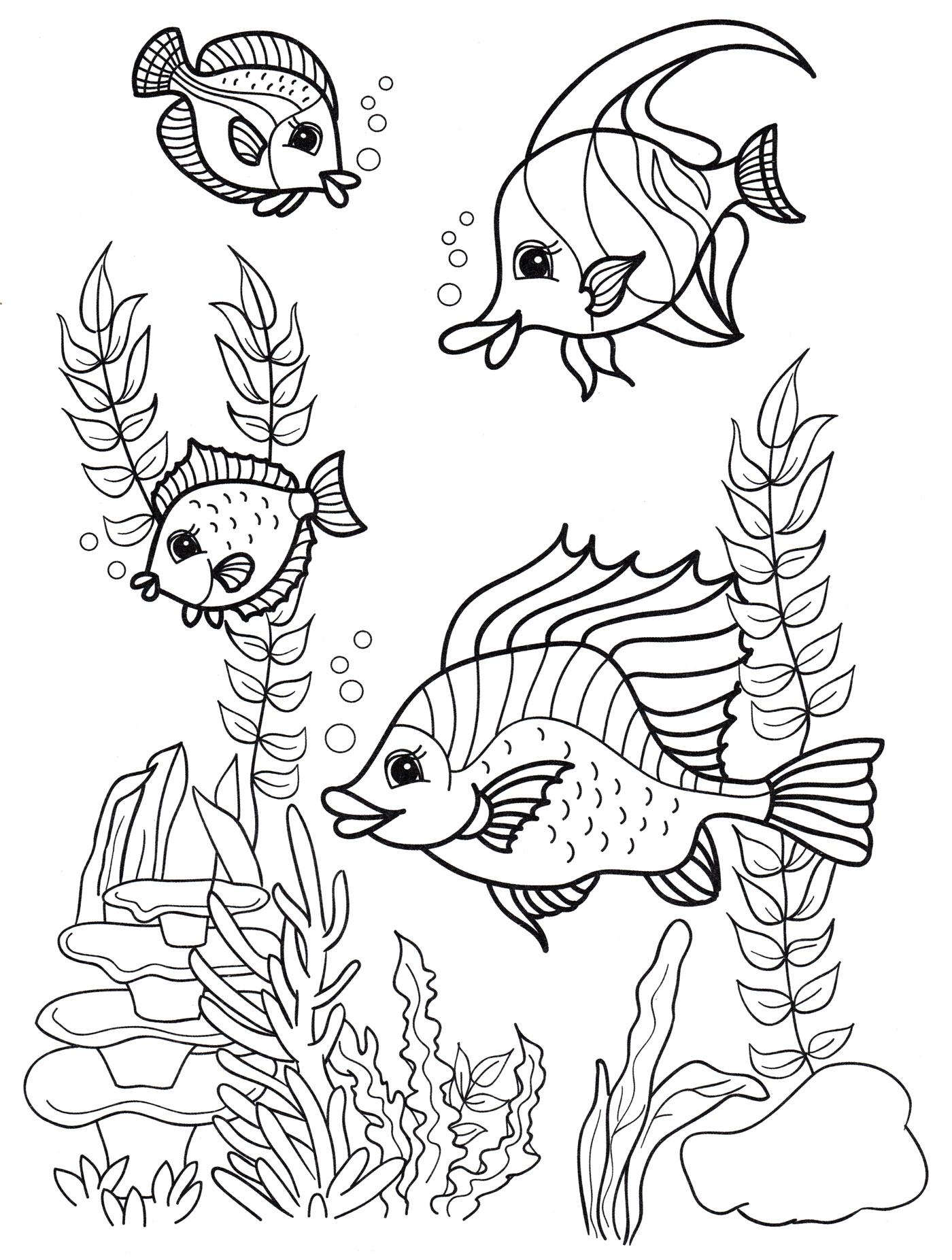 Раскраска Рыбки среди водорослей - распечатать бесплатно