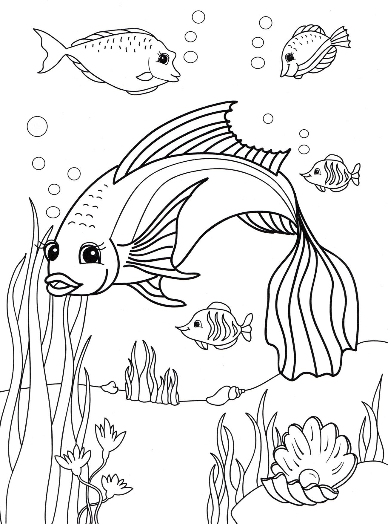 Раскраска Рыбка и ее друзья - распечатать бесплатно