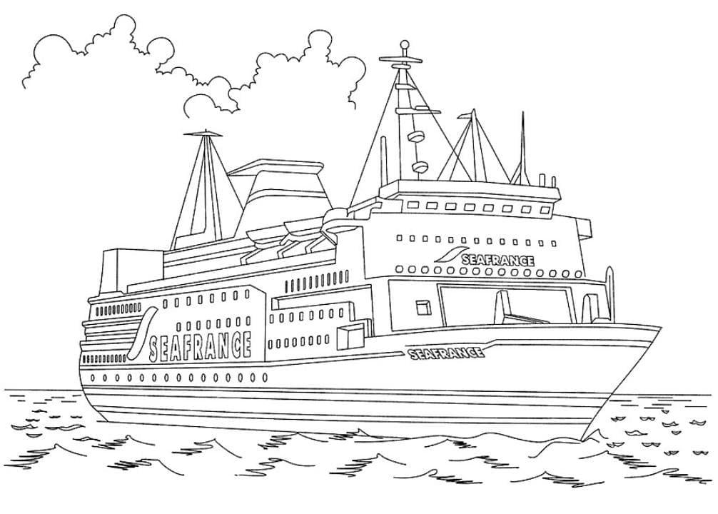 Раскраска Многоэтажный паром | Раскраски корабли