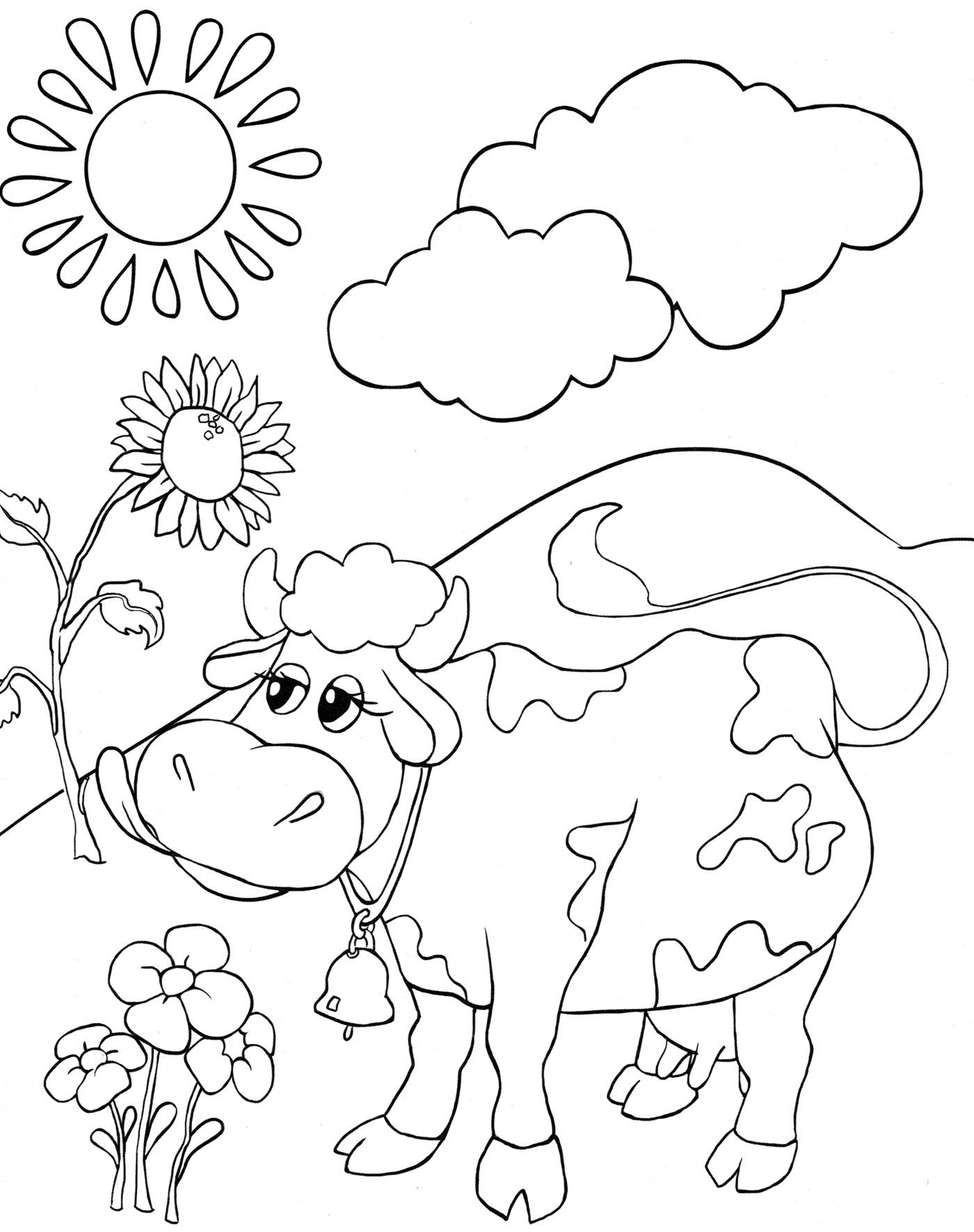 Раскраска Корова на лугу - распечатать бесплатно
