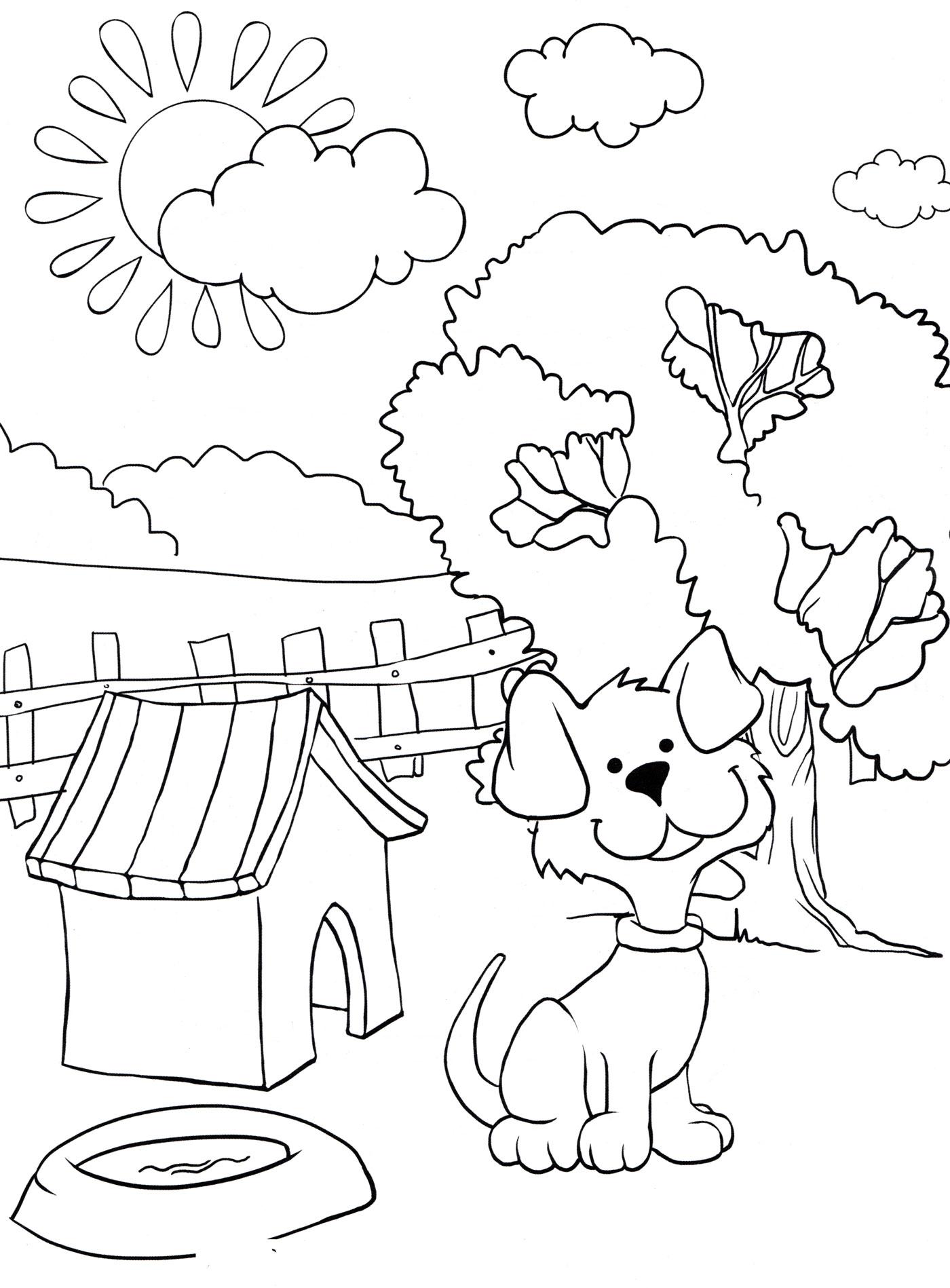 Раскраска Собака около будки - распечатать бесплатно