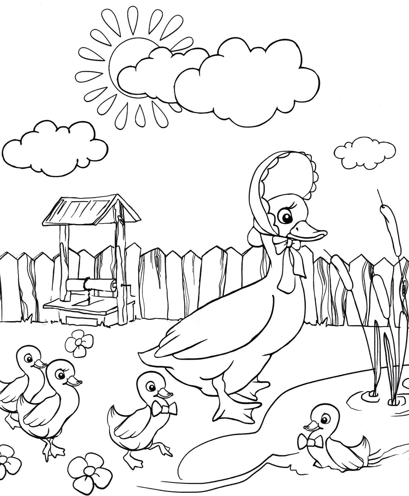 Раскраска Утка и ее детеныши - распечатать бесплатно