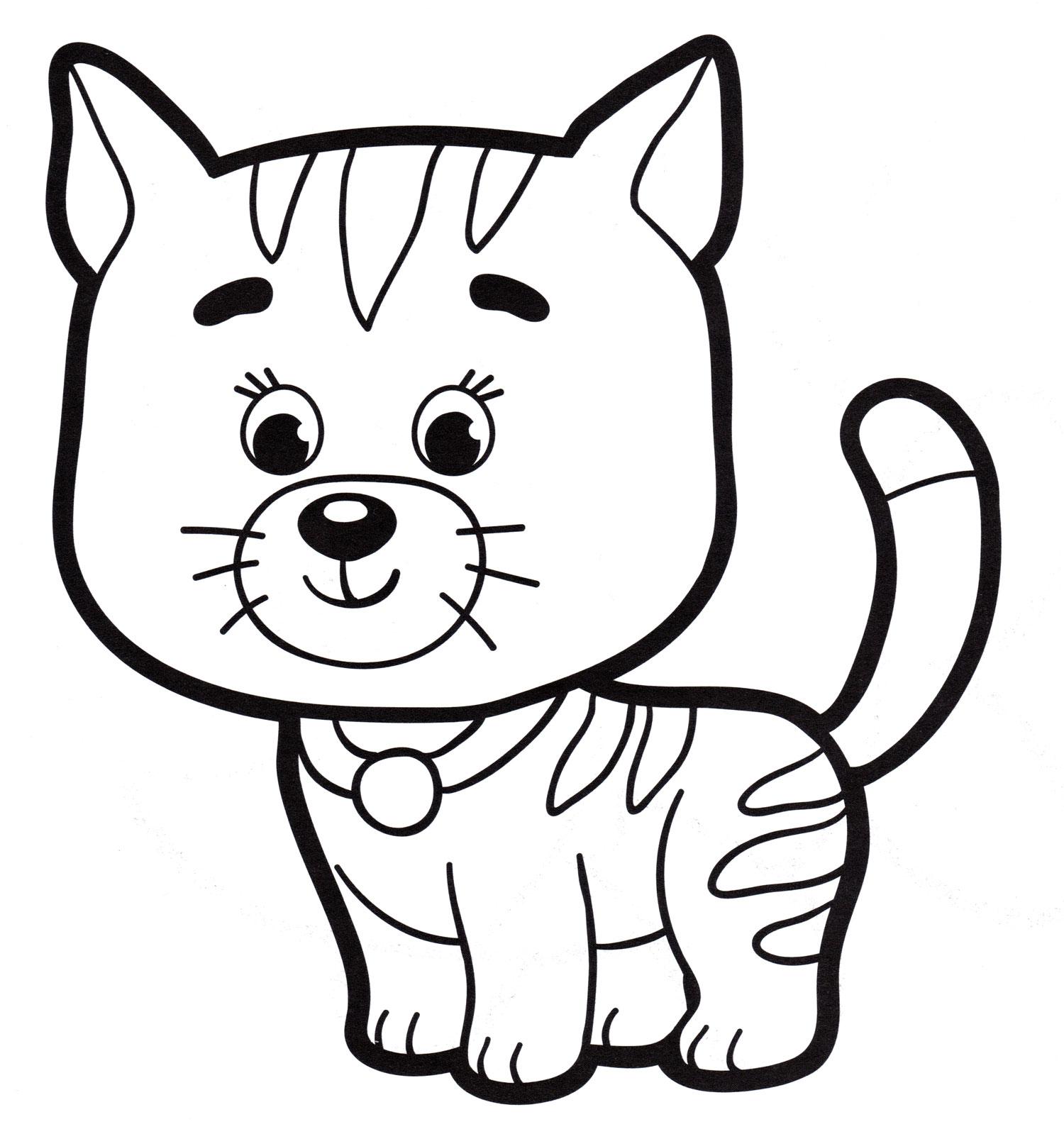 Раскраска Полосатый кот - распечатать бесплатно