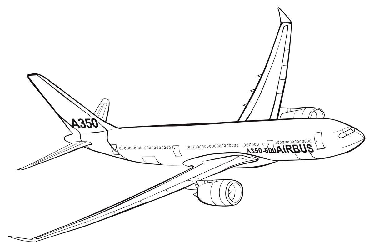 раскраска пассажирский самолет Airbus распечатать бесплатно