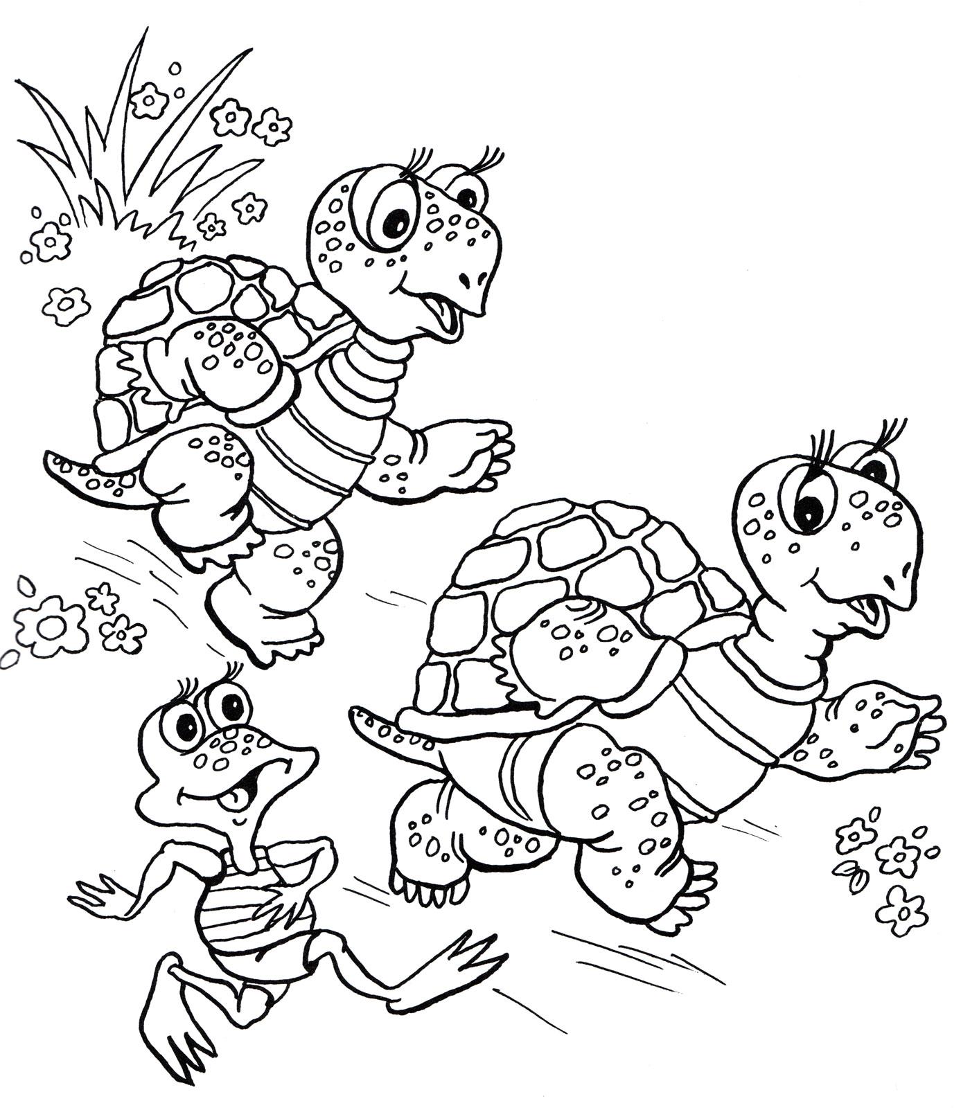 Раскраска Две черепахи и лягушка - распечатать бесплатно