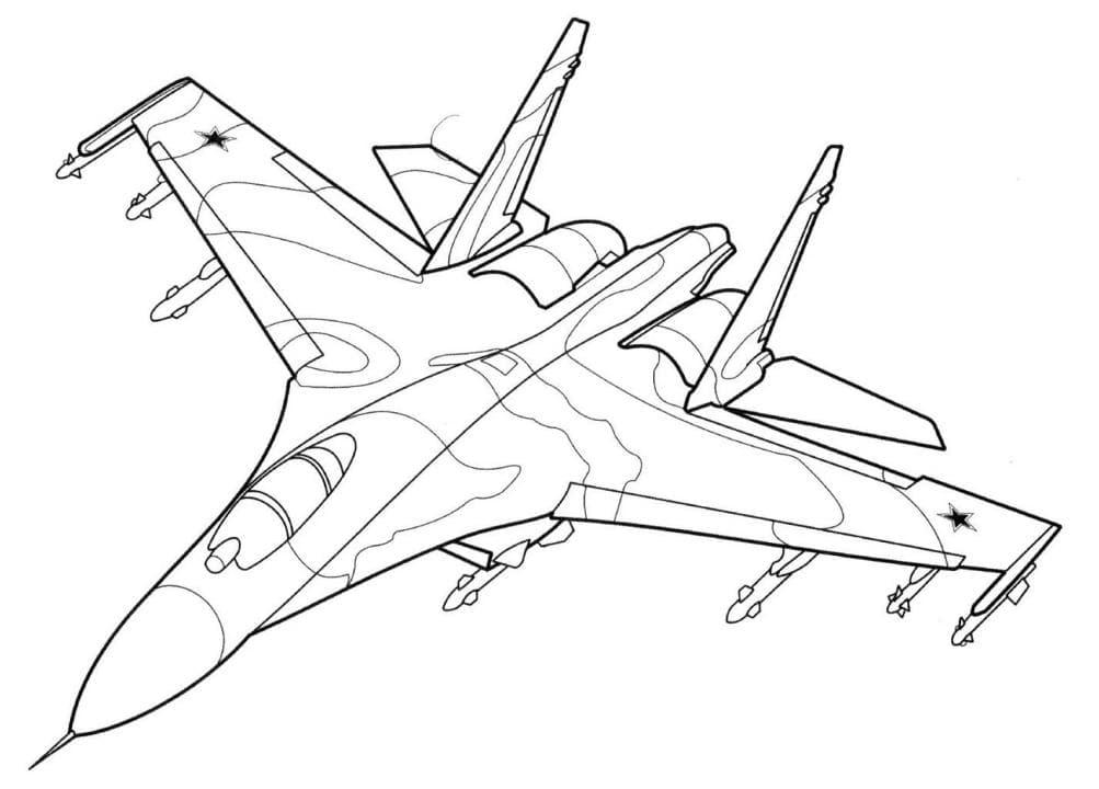 Раскраска Самолет истребитель Су-35 - распечатать бесплатно