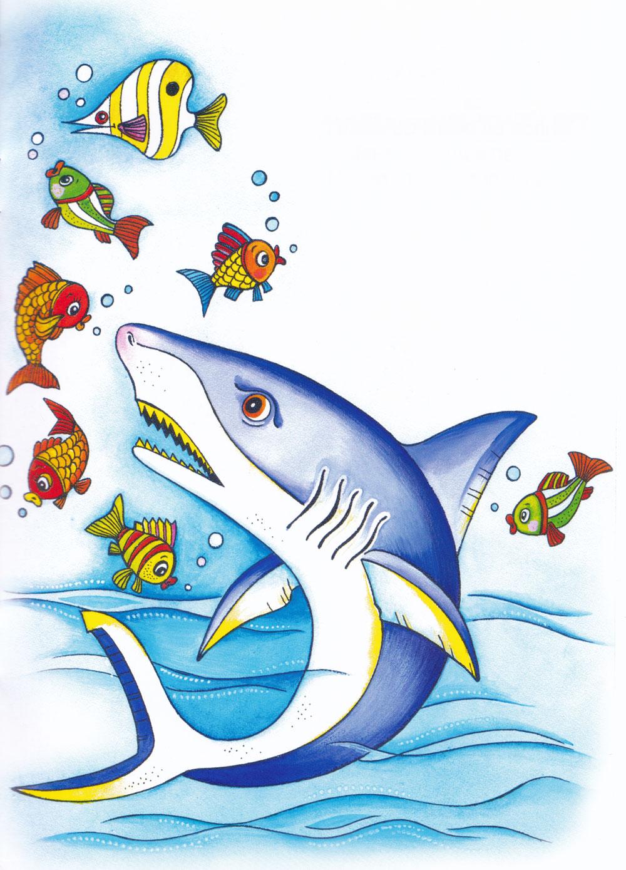 Раскраска Злая акула - распечатать бесплатно
