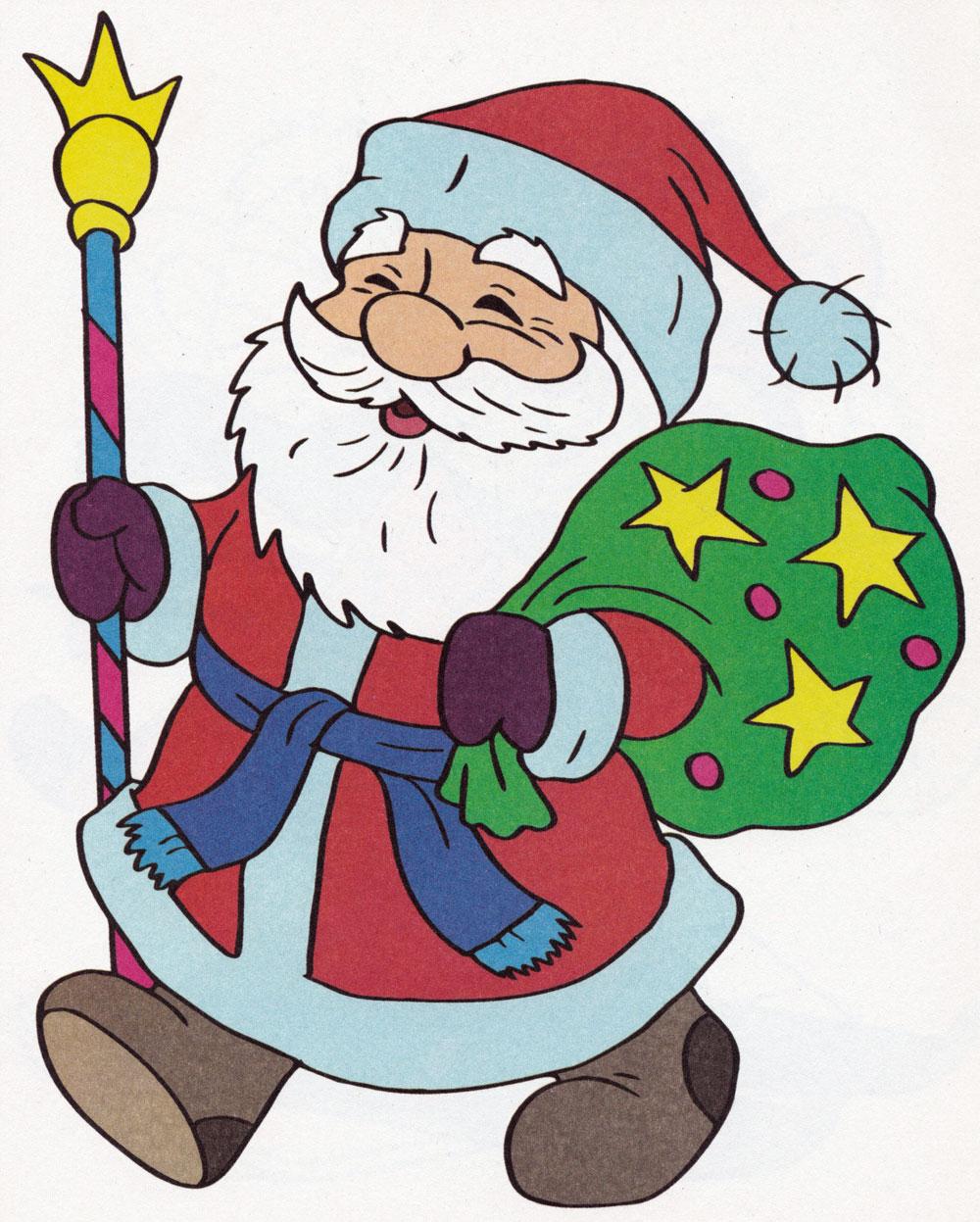 Раскраска Дед мороз с подарками - распечатать бесплатно