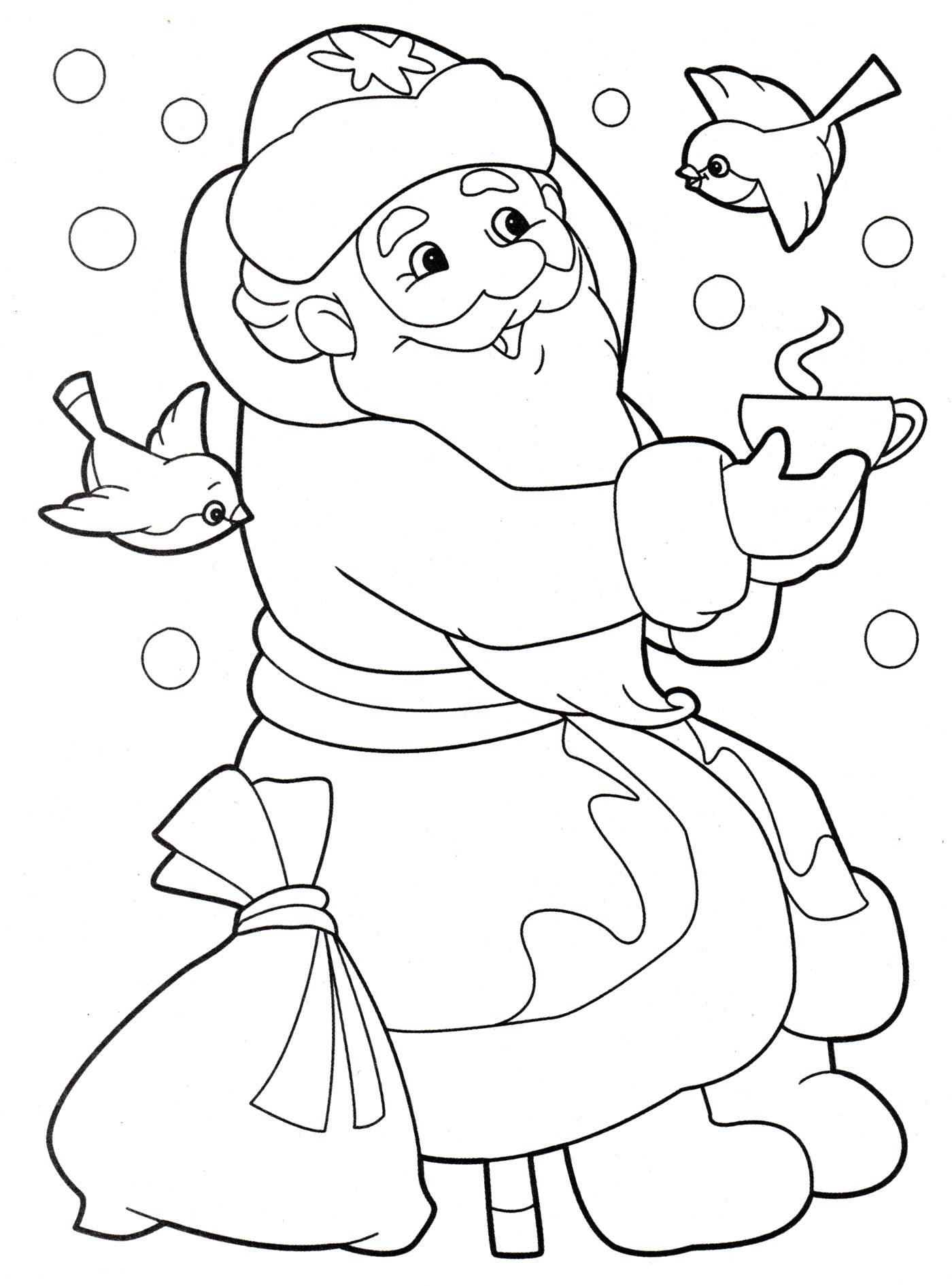 Раскраска Дед мороз пьет чай - распечатать бесплатно