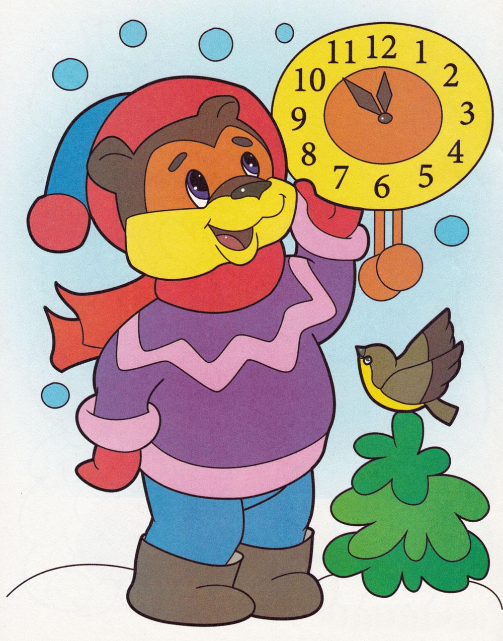Раскраска Мишка ждет новый год - распечатать бесплатно