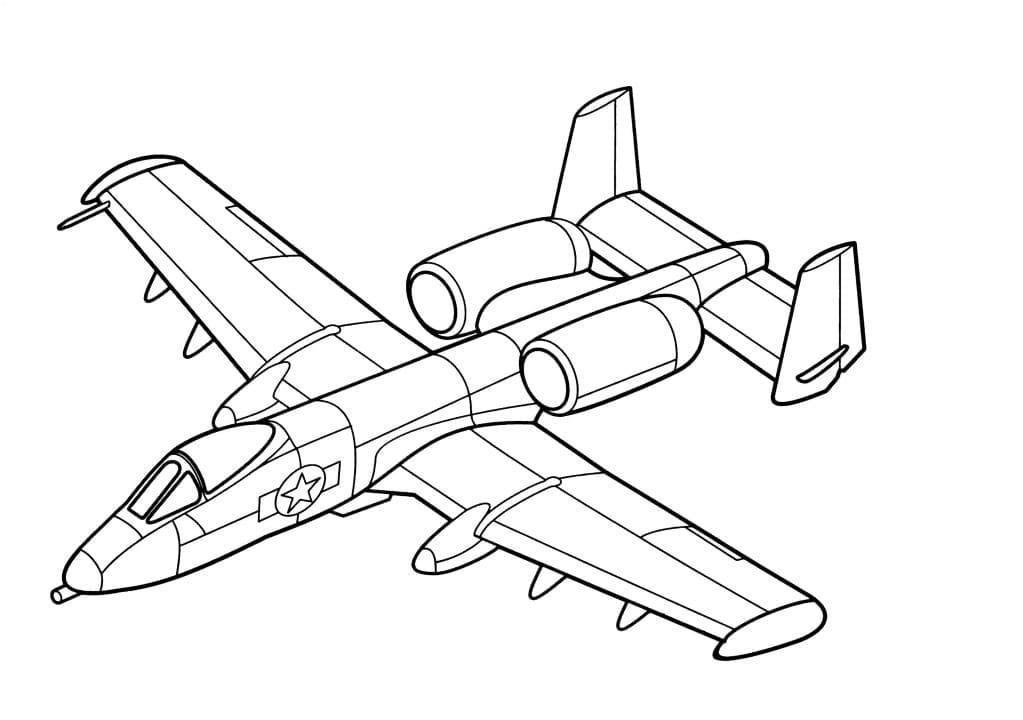Раскраска Военный самолет - распечатать бесплатно