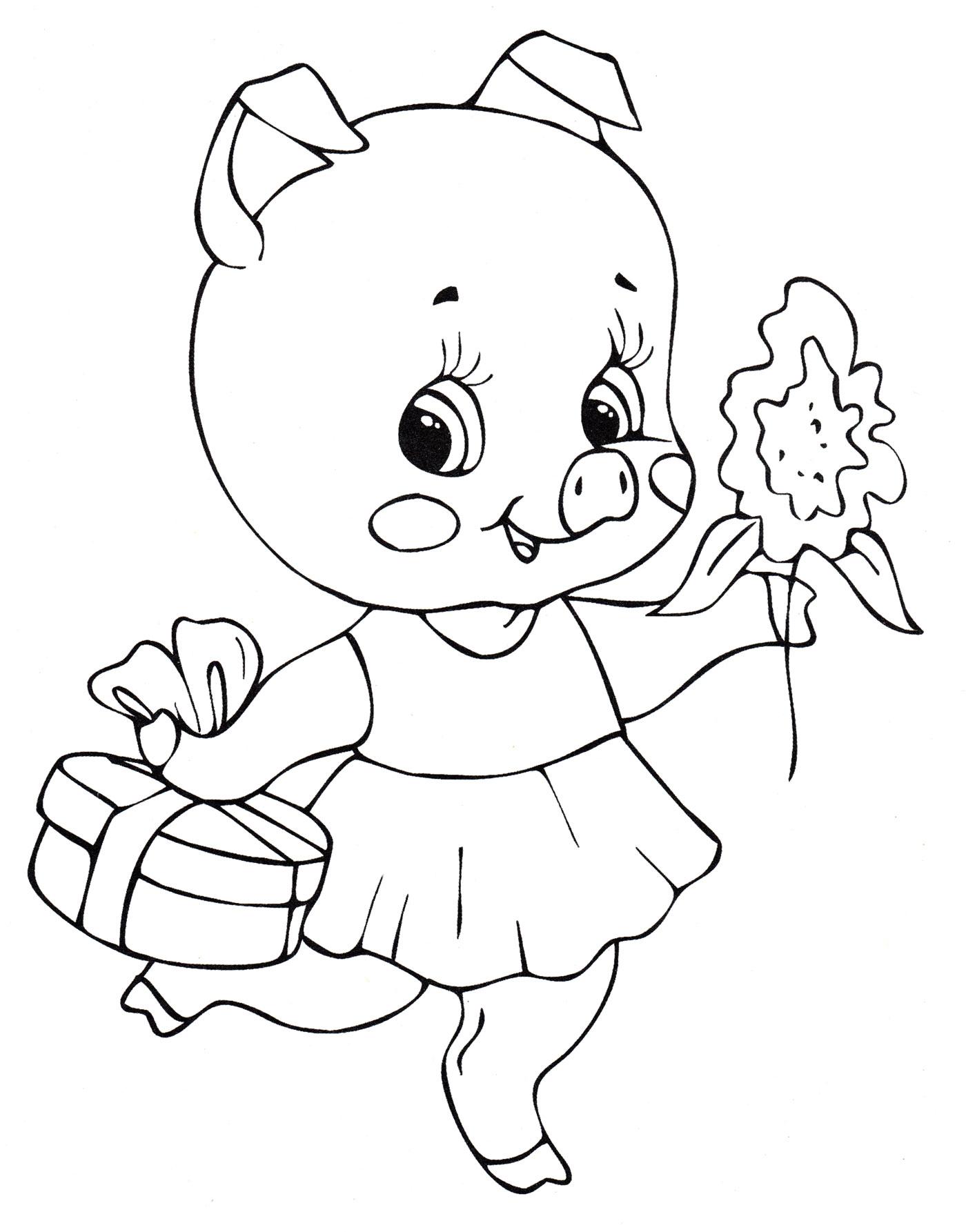 Раскраска Свинка с подарком - распечатать бесплатно