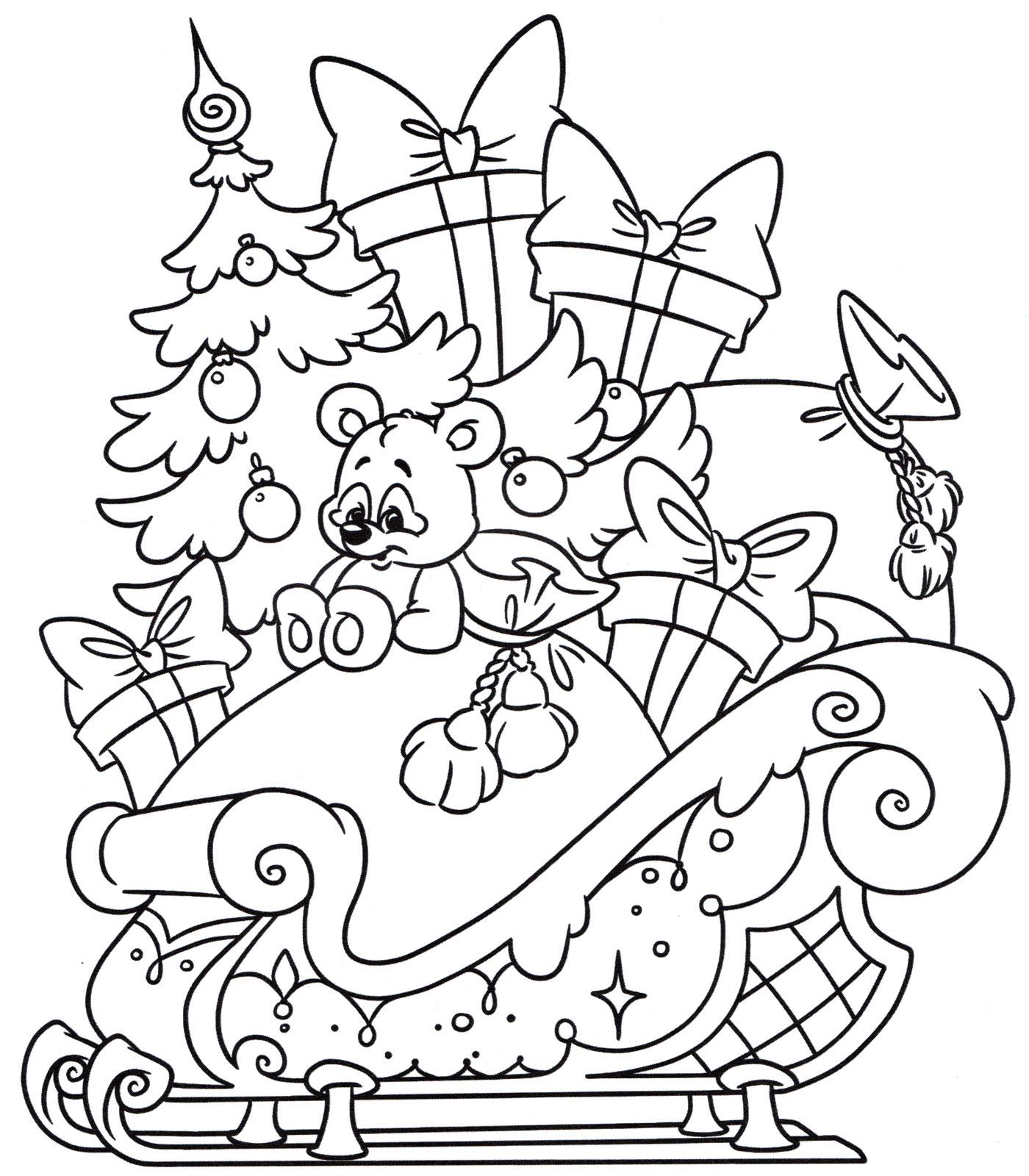 Раскраска Сани с подарками - распечатать бесплатно