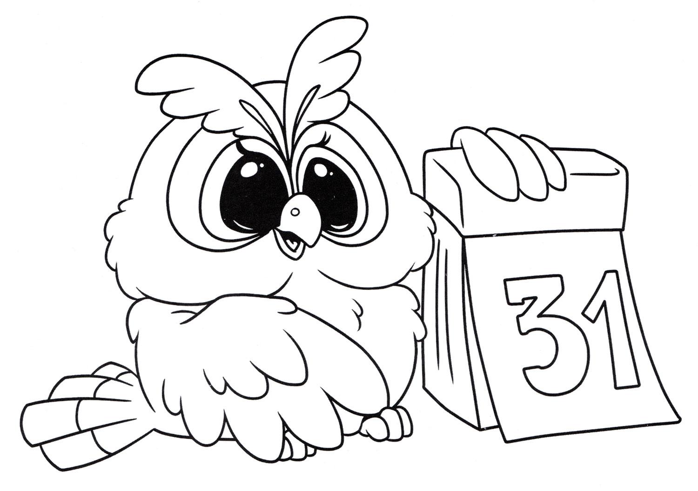 Раскраска Сова ждет новый год - распечатать бесплатно