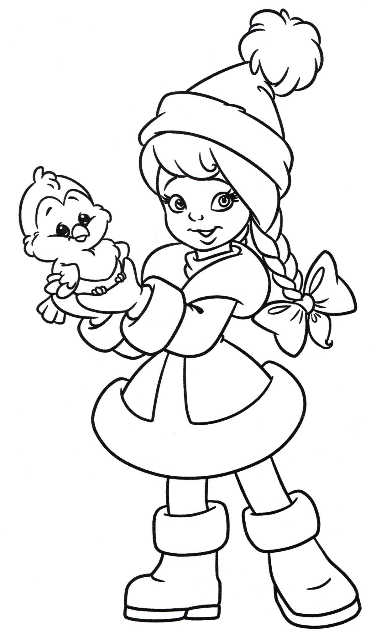 Раскраска Маленькая снегурочка - распечатать бесплатно