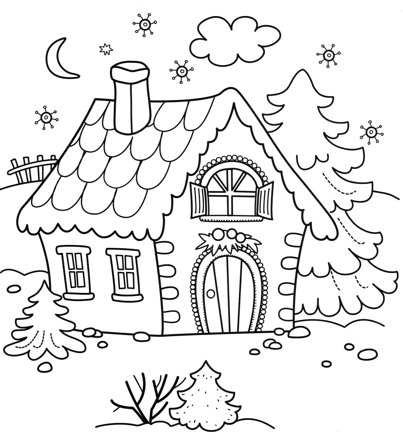 Картинка домик для раскрашивания