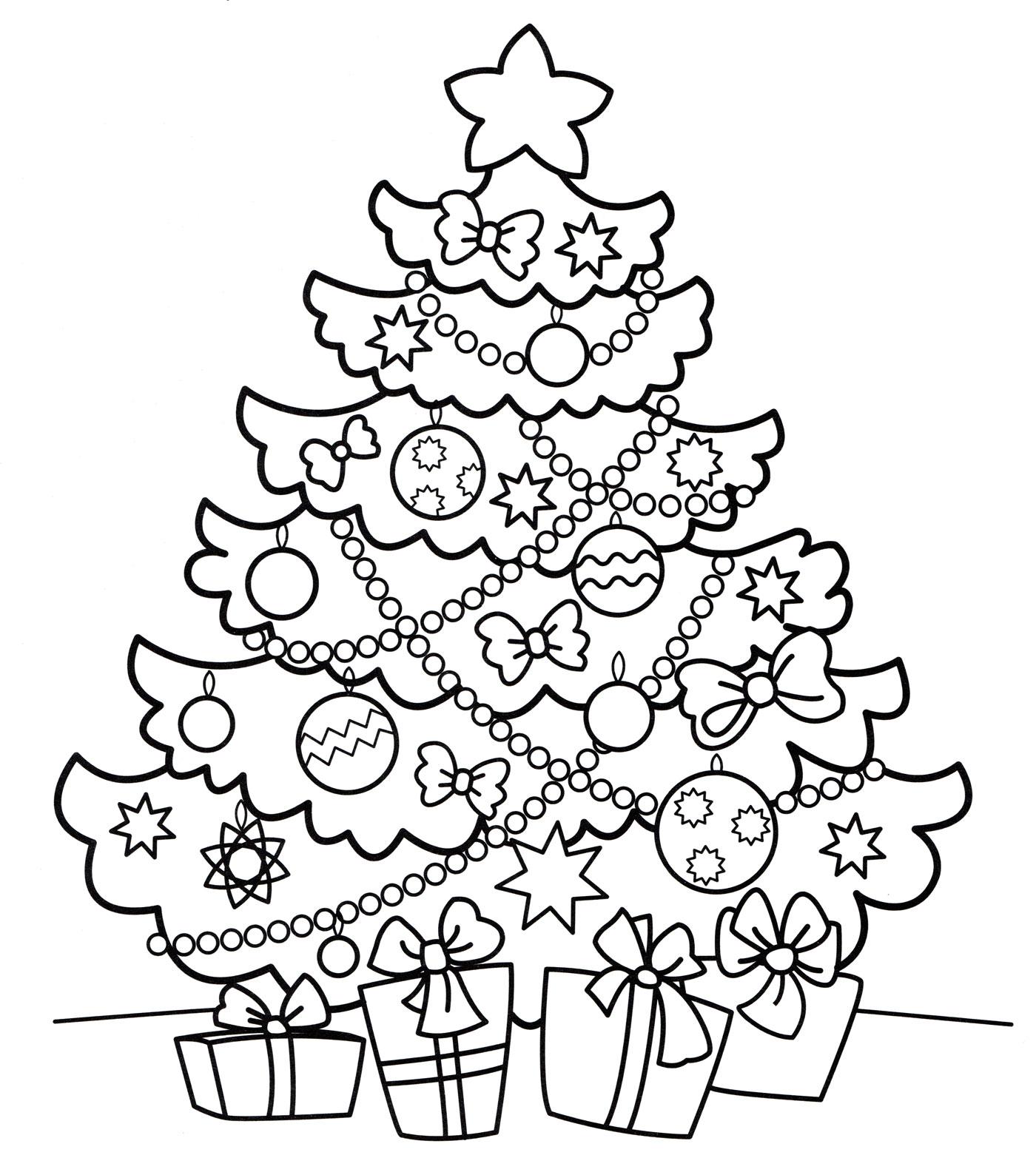 Раскраска Подарки под новогодней елкой - распечатать бесплатно