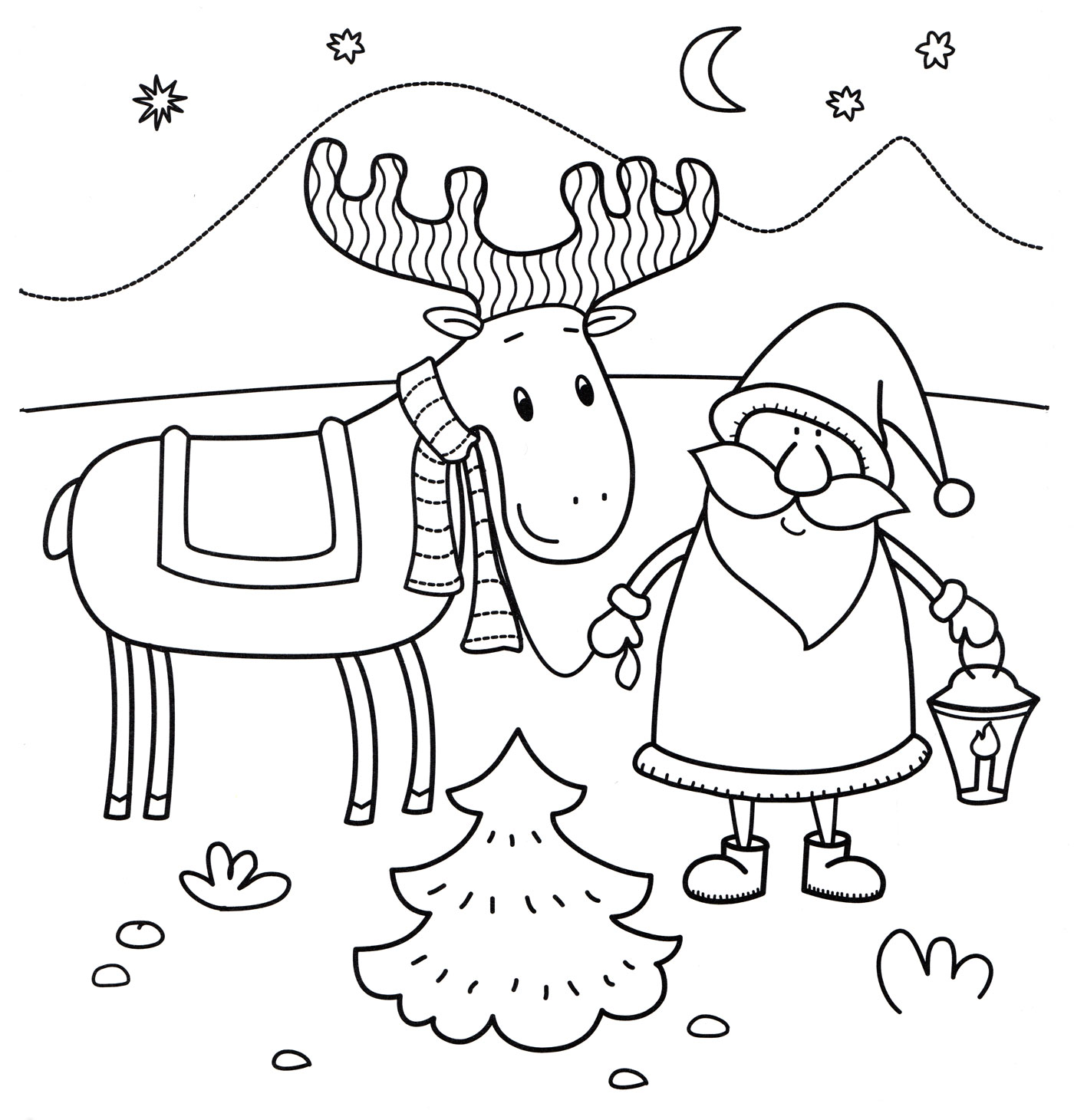 Раскраска Дед Мороз и его олень - распечатать бесплатно