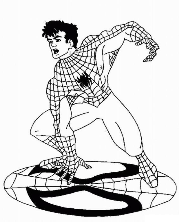 Раскраска Человек паук без маски - распечатать бесплатно
