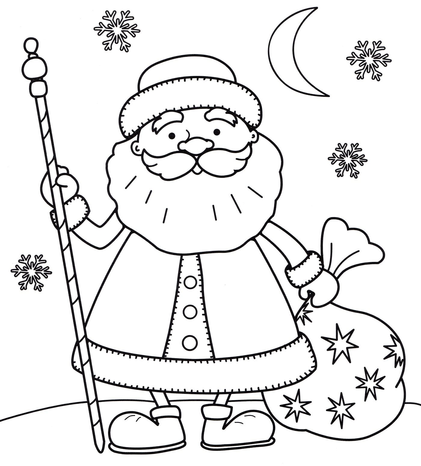 Раскраска Дедушка мороз с мешком - распечатать бесплатно