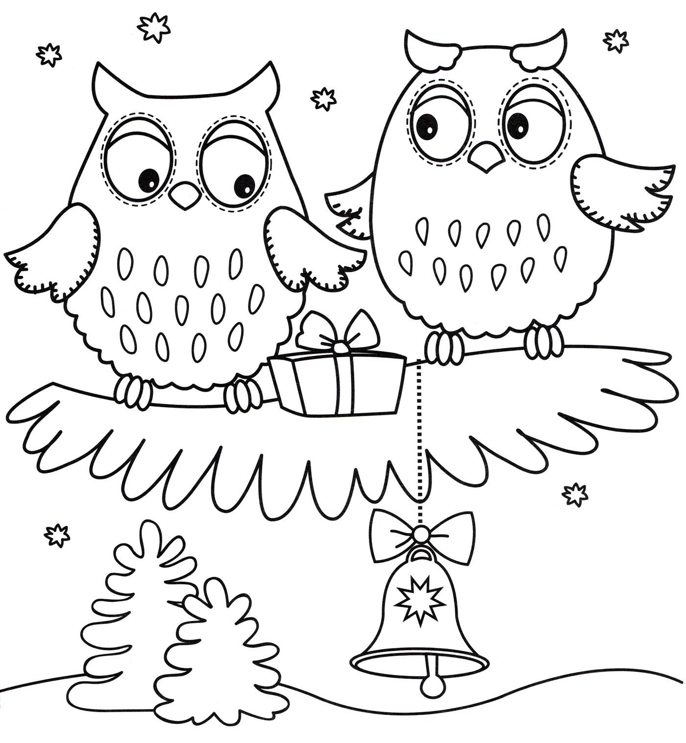 Раскраска Новогодние совы - распечатать бесплатно