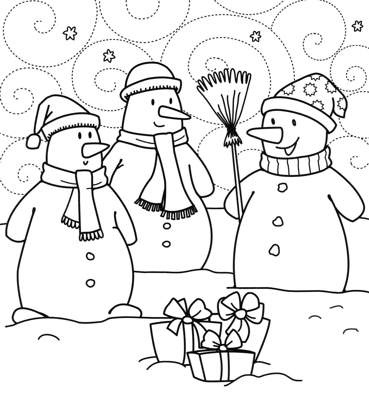 Раскраска Снеговики с подарками - распечатать бесплатно