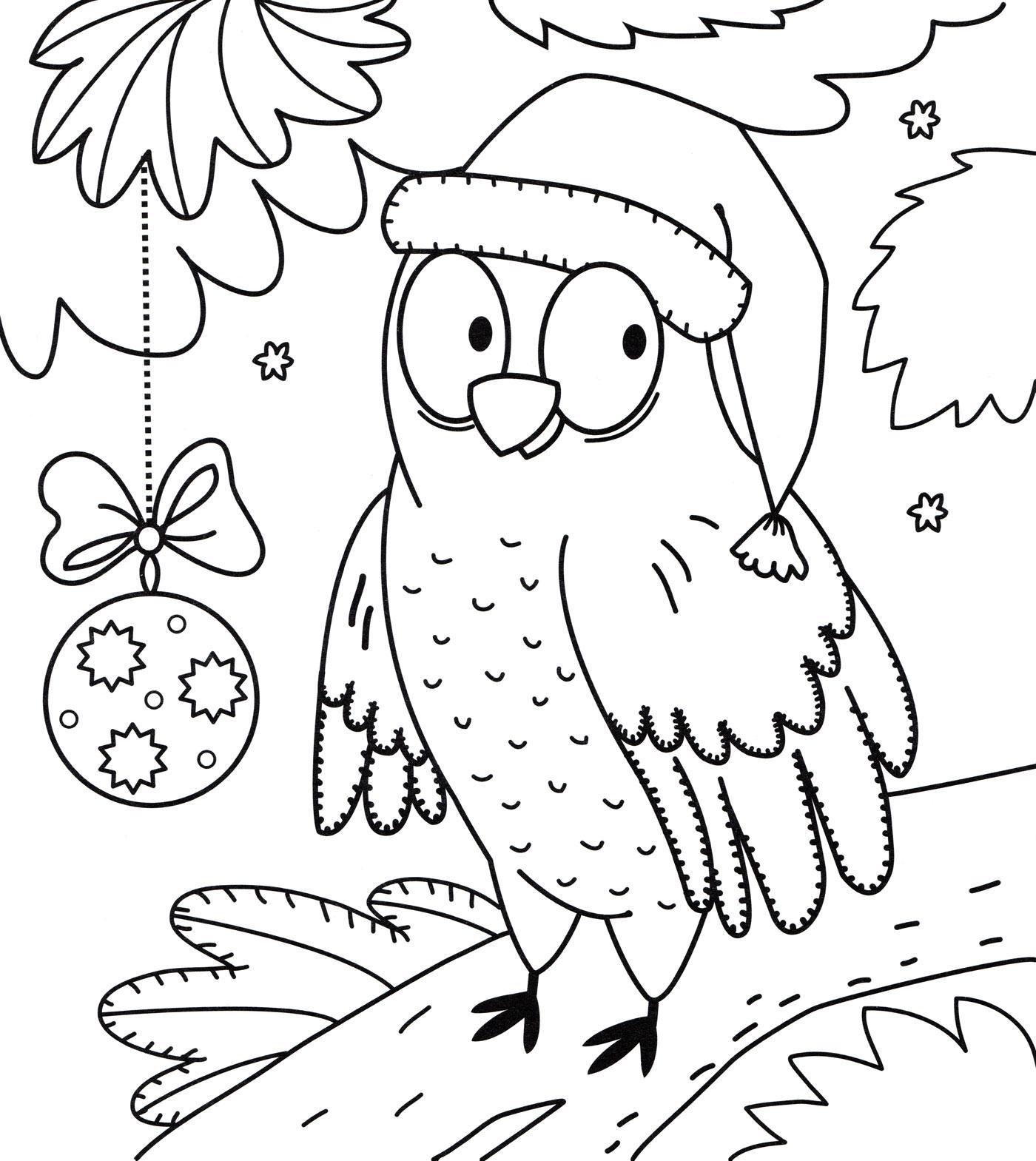 Раскраска Сова на новый год - распечатать бесплатно