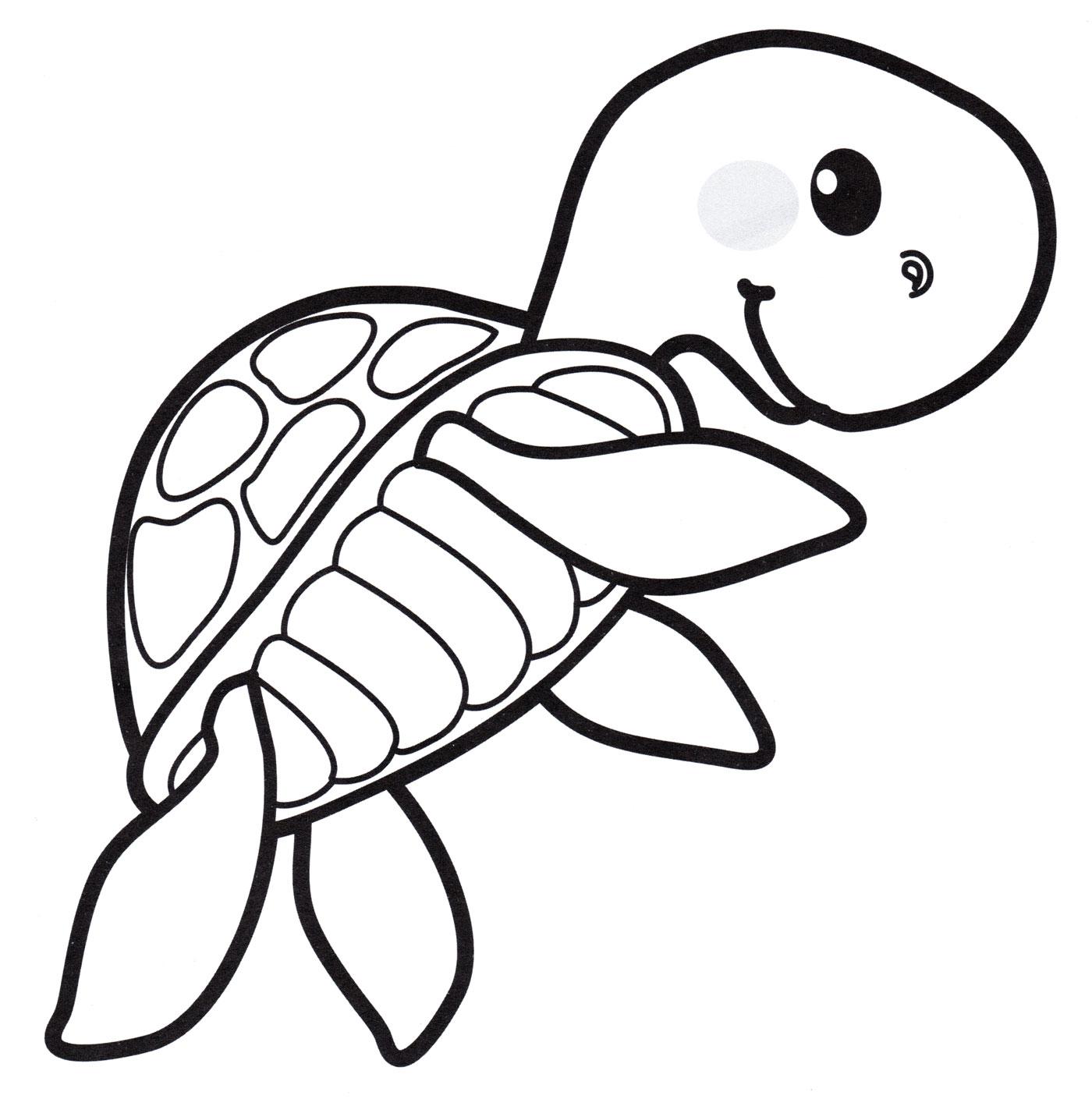 Раскраска Маленькая морская черепаха - распечатать бесплатно