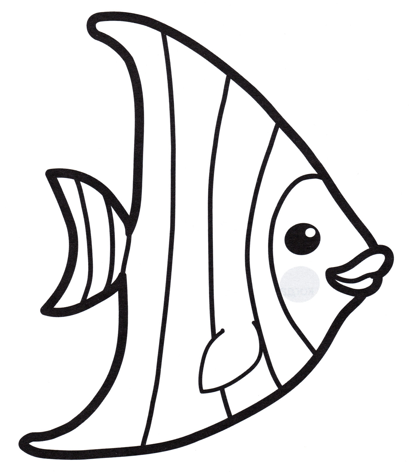 Раскраска Полосатая рыбка - распечатать бесплатно